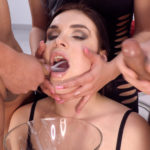 HANNAH VIVIENNE – Hannah Vivienne looks to be in a very good mood before her bukkake and nothing can spoil it! After giving a short interview, she instantly rushes herself into sensual sucking and even mouthfucking action. The guys' sperm doesn't make it wait for too long and starts pouring into the wide-open mouth of Hannah. Hannah swallows a few mouthfuls of 7 loads each, then increases up to 13 and shows no reluctance in holding and gulping higher amounts. She purely enjoys cum-swallowing and smiles all the way to the end, totaling 59 huge loads. Beautiful and joyful emotions with natural reactions make us want Hannah more!