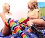 JESSY KEY & LAUREEN PINK – Hot blonde lesbians licking each other wet pussies