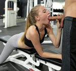AVA HARPER – Cute blonde Ava Hapere loves working out to keep her small tit body tight. Her ass looks great in leggings tight enough to show she's not wearing panties, and her boobs are highlighted by a sports bra. When Ava's boyfriend Logan Long joins her in the gym, she's quick to set her workout aside and start a different type of activity that still works up a sweat. Wrapping her soft lips around Logan's fuck rod, Ava starts sucking like a Hoover in a deep throat blowjob. Bending over, Ava waves her heart-shaped bottom in the air as she takes a pussy pounding from behind. Her nicely trimmed twat throbs with delight as Logan rests a hand on her back to keep her in place for his long, firm strokes. As Ava pushes back into every one of Logan's strokes, her moans of delight fill the room. Ava's ultra tight twat stretches to accommodate Logan's big hardon as he pulls her onto his lap for a stiffie ride. Her lush lips form an O of delight as she rides her personal stud, but that's not quite enough to get this babe off. Falling to her back on the exercise equipment, Ava takes Logan back between her thighs until he's ready to explode. He pulls out at the last moment and gives her a jizz facial that ends with Ava sucking her boyfriend's cock free of cum
