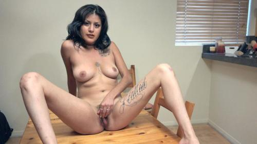 Daniela Flor talks dirty while naked on a table